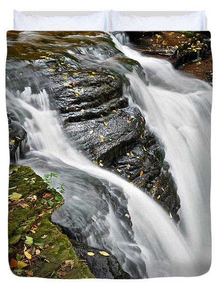 Water Rushes Forth Duvet Cover by Frozen in Time Fine Art Photography