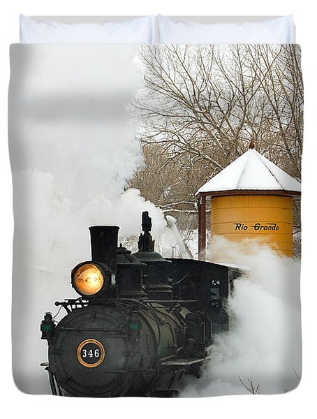 Water Tower Behind The Steam Duvet Cover by Ken Smith