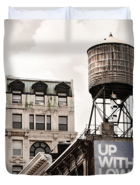 Water Towers 14 - New York City Duvet Cover by Gary Heller
