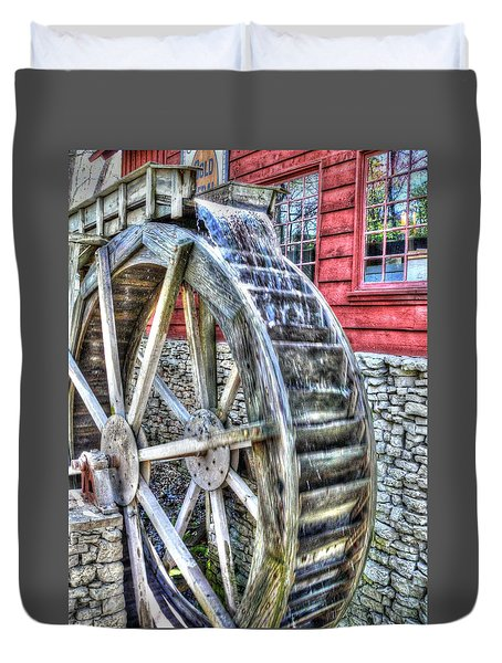 Water Wheel On Mill Duvet Cover by John Straton