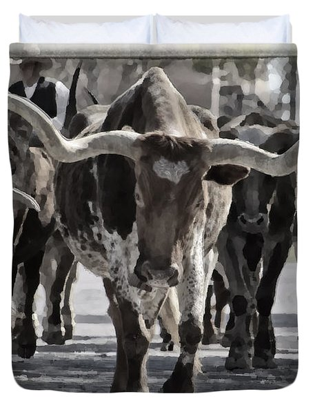 Watercolor Longhorns Duvet Cover by Joan Carroll