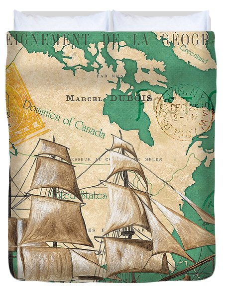 Watercolor Map 2 Duvet Cover by Debbie DeWitt