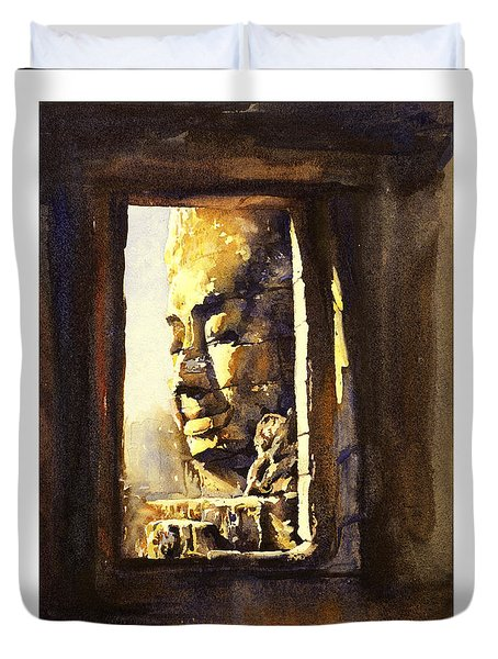 Watercolor Of Cambodian Temple Duvet Cover by Ryan Fox