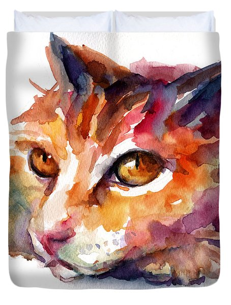 Watercolor Orange Tubby Cat Duvet Cover by Svetlana Novikova