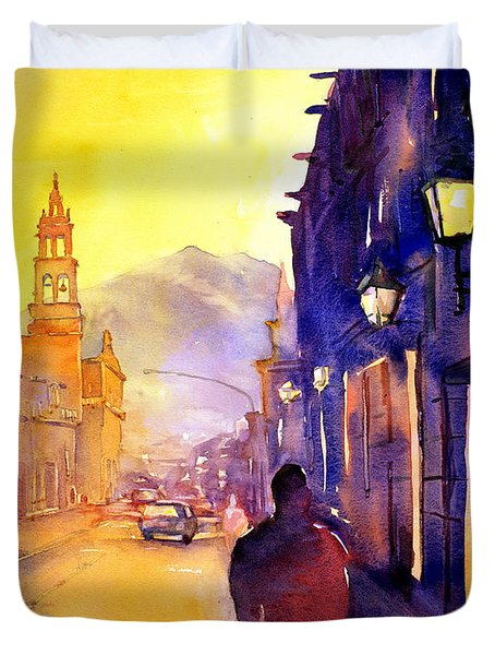 Watercolor Painting Of Street And Church Morelia Mexico Duvet Cover by Ryan Fox