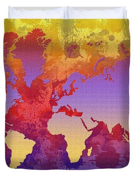 Watercolor Splashes World Map On Canvas Duvet Cover by Zaira Dzhaubaeva
