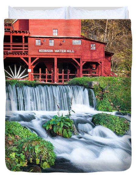 Waterfall And Hodgson Mill - Missouri Duvet Cover by Gregory Ballos