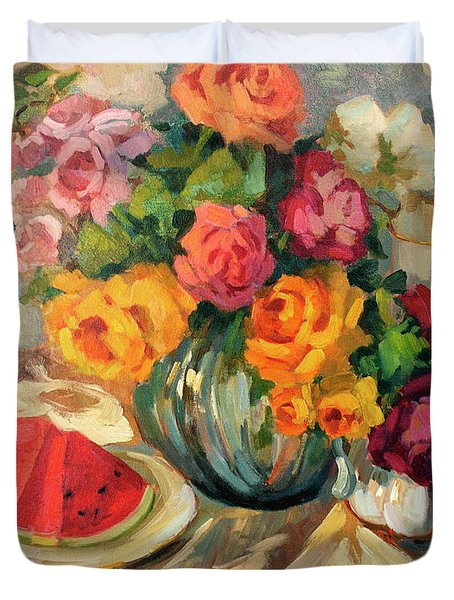 Watermelon And Roses Duvet Cover by Diane McClary