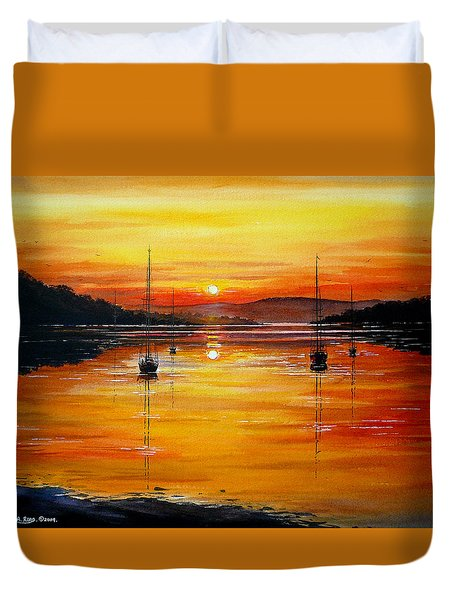 Watery Sunset At Bala Lake Duvet Cover by Andrew Read