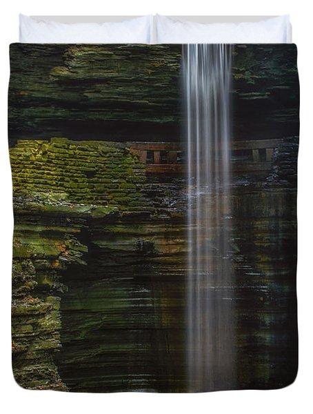 Watkins Glen Central Cascade Duvet Cover by Mark Papke