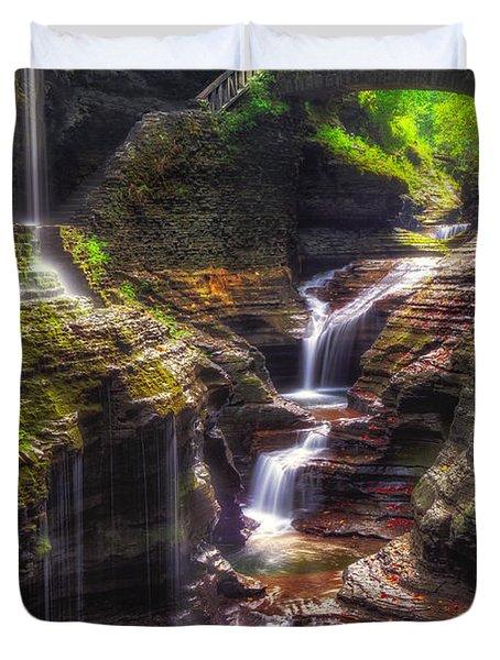 Watkins Glen Rainbow Falls Duvet Cover by Mark Papke