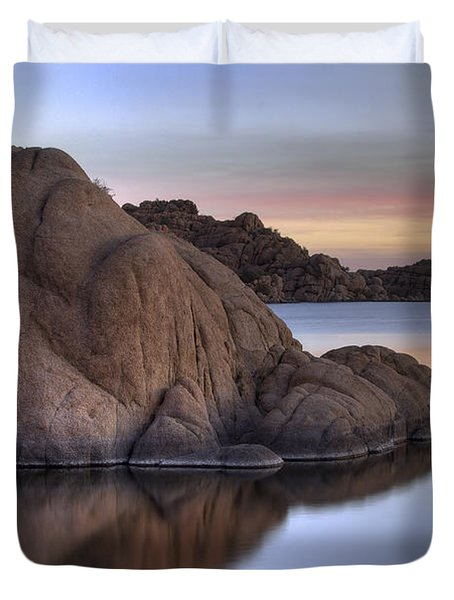 Watson Lake Arizona Colors Duvet Cover by Dave Dilli