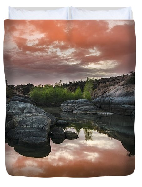 Watson Lake in Pink Duvet Cover by Dave Dilli