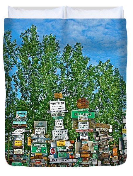 Watson Lake Sign Forest-YT Duvet Cover by Ruth Hager