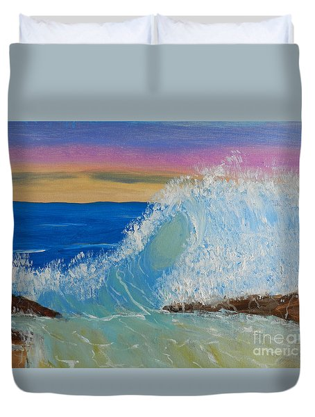 Wave At Sunrise Duvet Cover by Pamela  Meredith