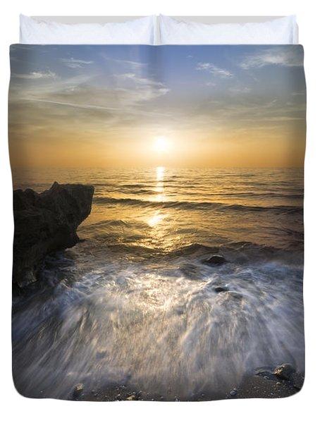 Waves at Sunrise Duvet Cover by Debra and Dave Vanderlaan