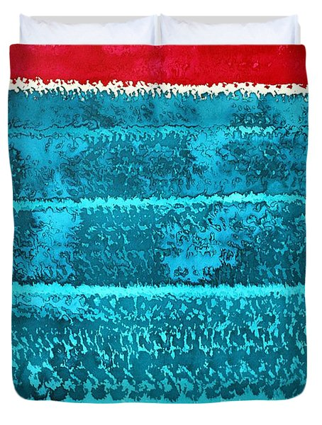 Waves Original Painting Duvet Cover by Sol Luckman