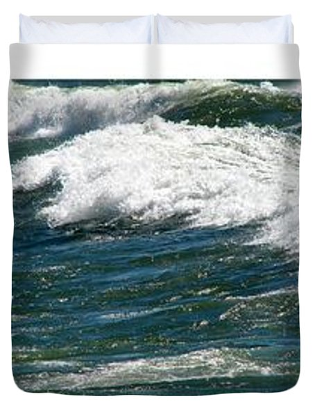 Waves Triptych Ll Duvet Cover by Michelle Calkins