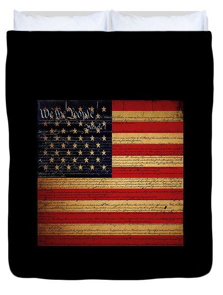 We The People - The US Constitution with Flag - square black border Duvet Cover by Wingsdomain Art and Photography