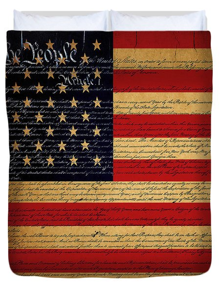 We The People - The US Constitution with Flag - square v2 Duvet Cover by Wingsdomain Art and Photography