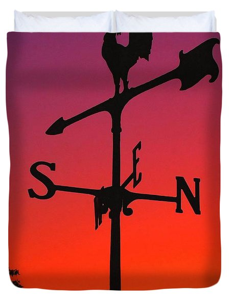 Weathervane At Sunset Duvet Cover by Nick Zelinsky