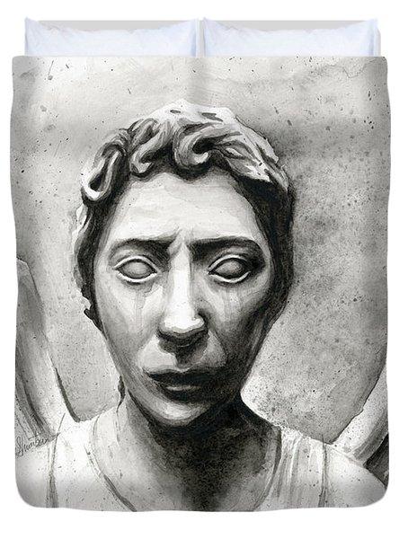Weeping Angel Don't Blink Doctor Who Fan Art Duvet Cover by Olga Shvartsur