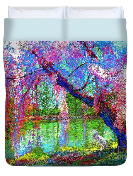 Weeping Beauty, Cherry Blossom Tree And Heron Duvet Cover by Jane Small