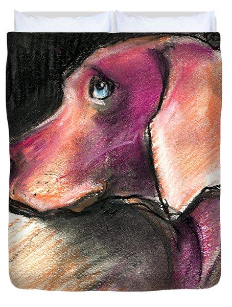 Weimaraner Dog Painting Duvet Cover by Svetlana Novikova