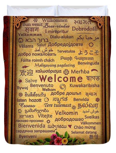 Welcome Duvet Cover by Bedros Awak