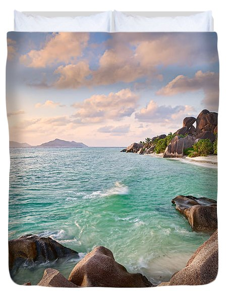 Welcome To La Digue Duvet Cover by Michael Breitung