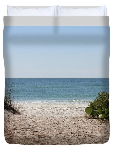Welcome To The Beach Duvet Cover by Carol Groenen