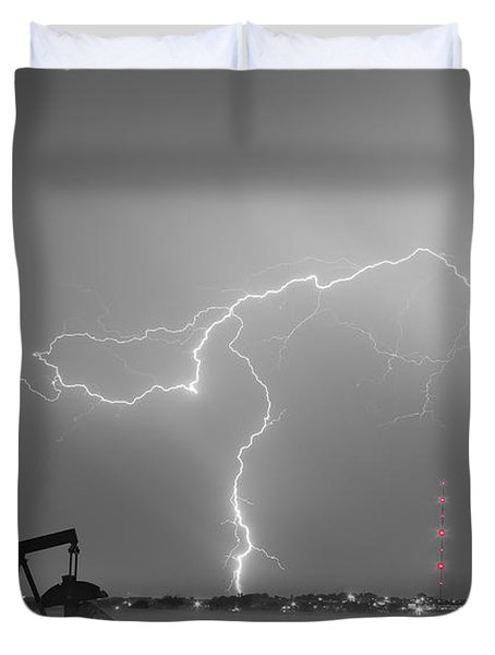 Weld County Dacona Oil Fields Lightning Thunderstorm Bwsc Duvet Cover by James BO  Insogna