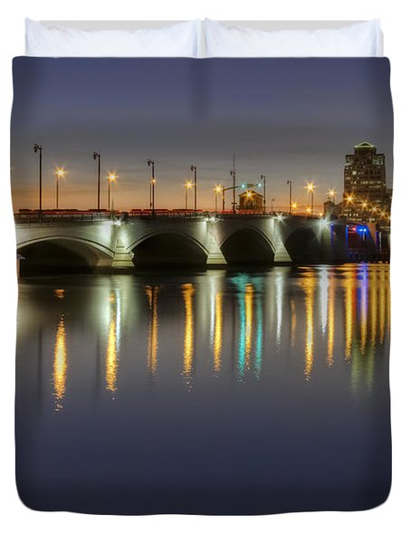 West Palm Beach at Night Duvet Cover by Debra and Dave Vanderlaan