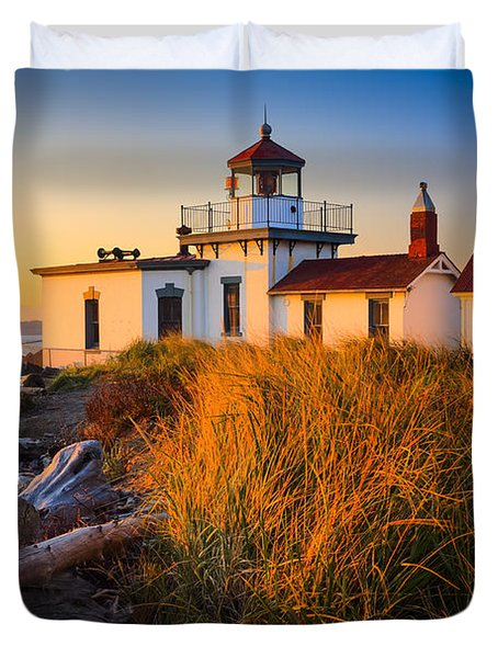 West Point Lighthouse Duvet Cover by Inge Johnsson