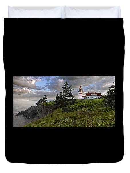 West Quoddy Head Lighthouse Panorama Duvet Cover by Marty Saccone