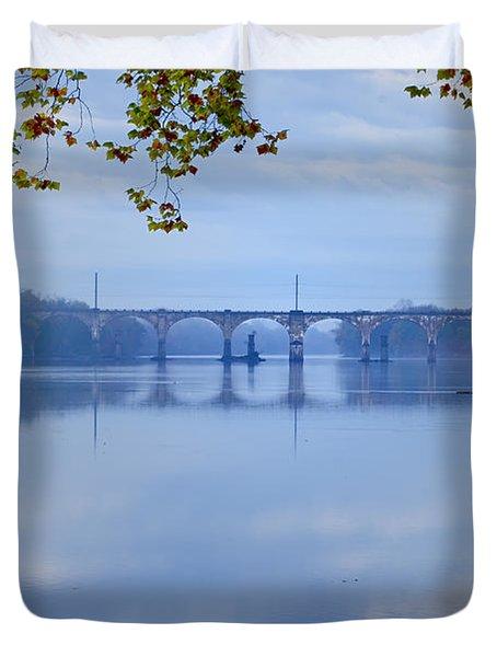 West Trenton Railroad Bridge Duvet Cover by Bill Cannon