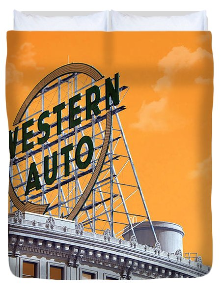 Western Auto Sign Artistic Sky Duvet Cover by Andee Design