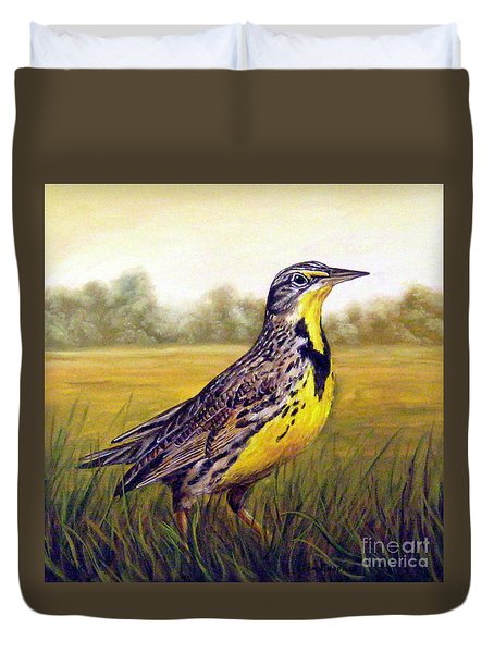 Western Meadowlark Afternoon Duvet Cover by Tom Chapman