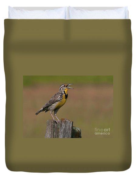 Western Meadowlark.. Duvet Cover by Nina Stavlund