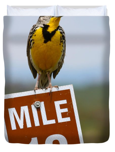 Western Meadowlark On The Mile 13 Sign Duvet Cover by Karon Melillo DeVega