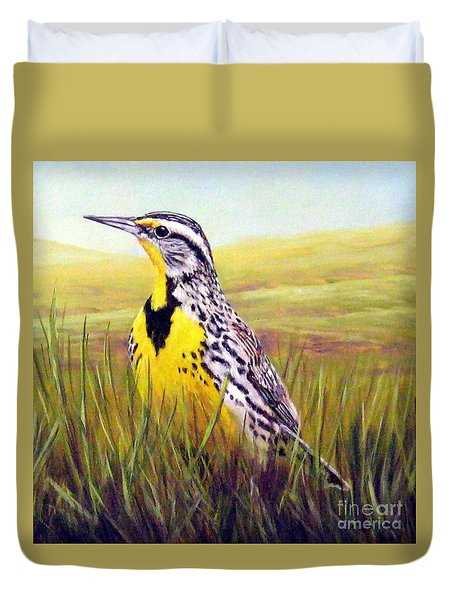 Western Meadowlark Duvet Cover by Tom Chapman
