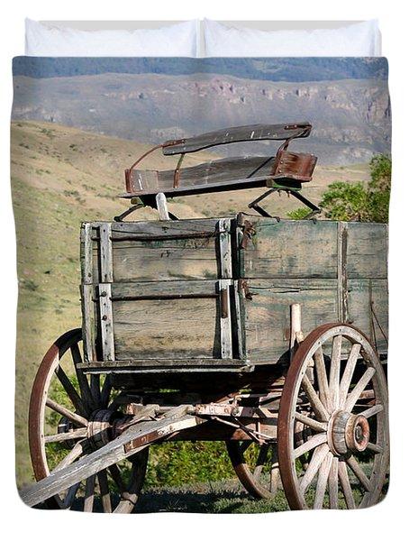 Western Wagon Duvet Cover by Sabrina L Ryan