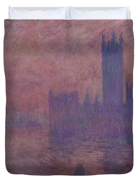 Westminster Tower Duvet Cover by Claude Monet