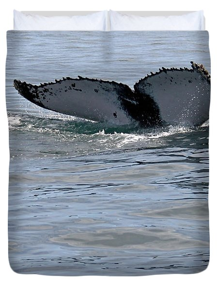 Whale Tail Duvet Cover by Bob Hislop