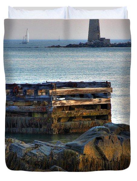 Whaleback Lighthouse Duvet Cover by Brett Pelletier