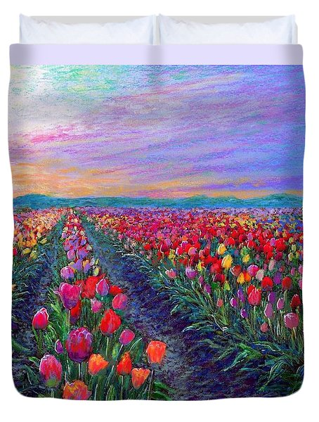 Tulip Fields, What Dreams May Come Duvet Cover by Jane Small