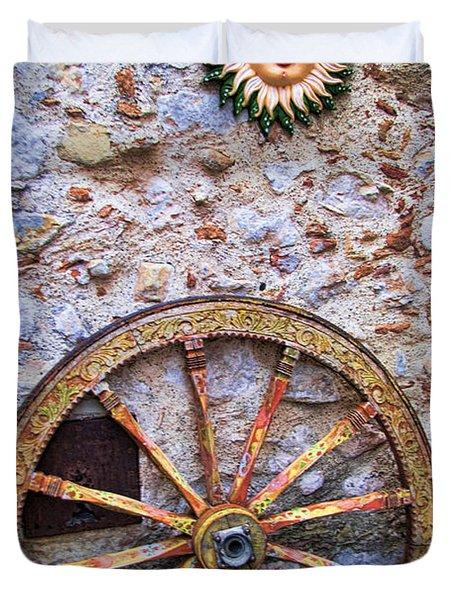 Wheel And Sun In Taromina Sicily Duvet Cover by David Smith