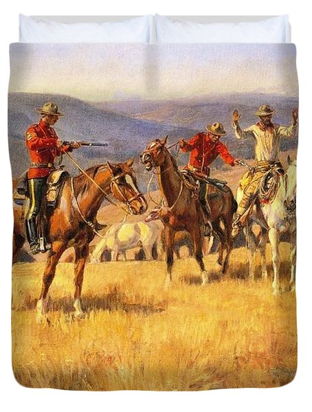 When Law Dulls The Edge Of Chance Duvet Cover by Charles Russell