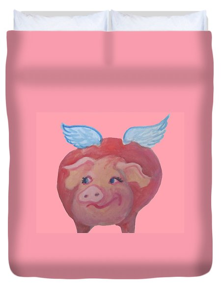 When Pigs Fly Duvet Cover by Cherie Sexsmith