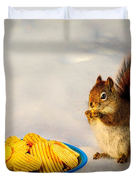 When you lose your nuts there is always chips Duvet Cover by Bob Orsillo